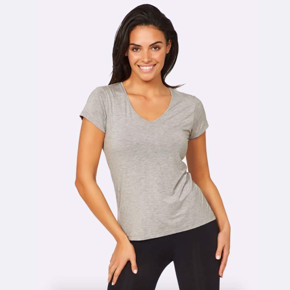 Boody Women's V-Neck T-Shirt - Light Grey Marl