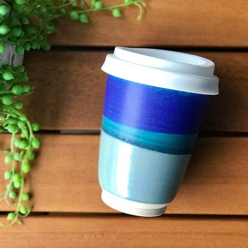 Bryteka Pottery Coffee Cup - Majestic Blue (12oz)