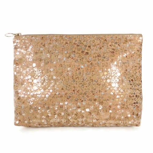 Spicer Bags Carryall Cork Clutch in Metallic Pebble