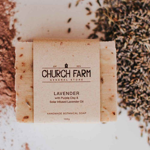 Church Farm Lavender & Purple Clay Handmade Soap (180g)