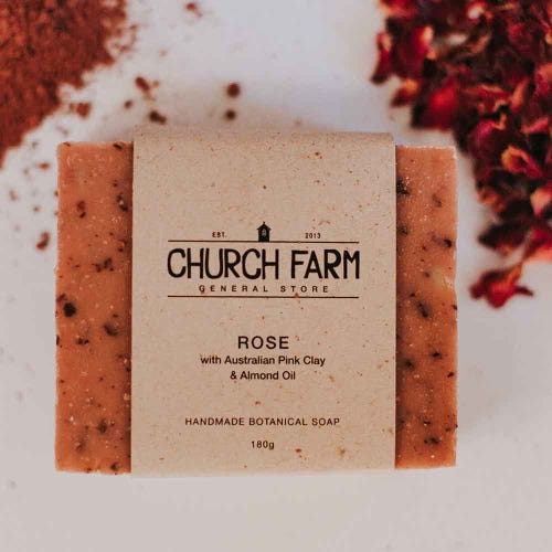 Church Farm Rose & Pink Clay Handmade Soap (180g)