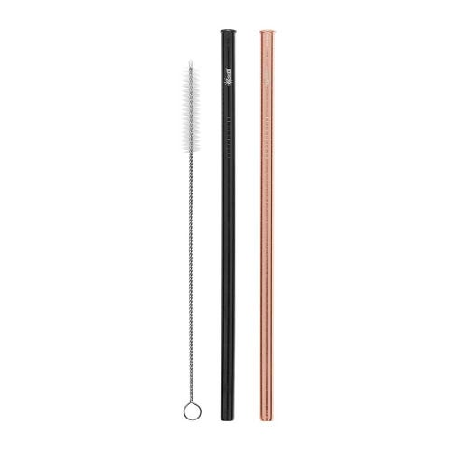 Cheeki Straight Straw 2 Pack - Rose Gold & Black