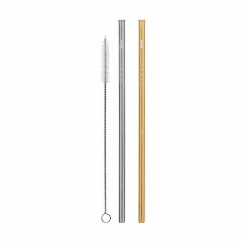 Cheeki Straight Straw 2 Pack - Silver & Gold