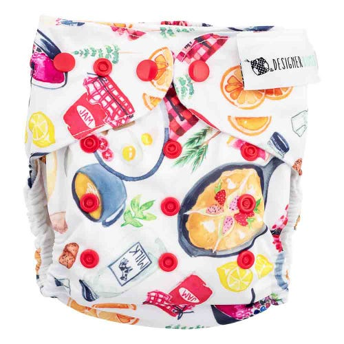 Designer Bums Reusable Nappy - Breakfast Is My Jam