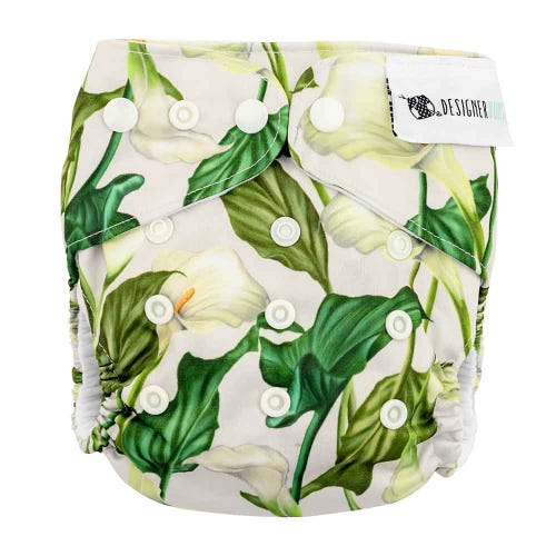 Designer Bums Reusable Nappy - White Light