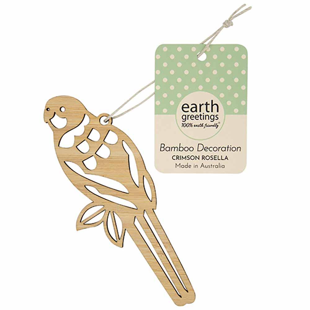 Earth Greetings Bamboo Decoration - Crimson Rosella