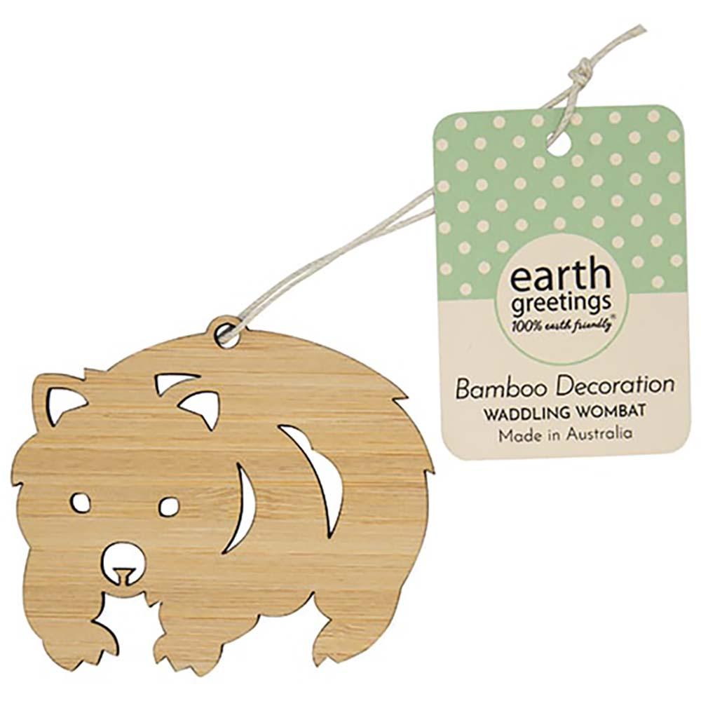 Earth Greetings Bamboo Decoration - Waddling Wombat