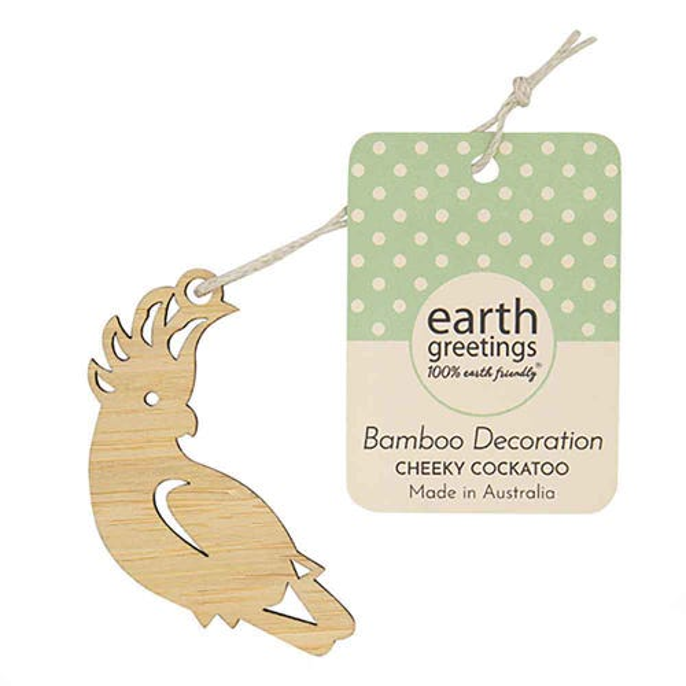 Earth Greetings Mini Bamboo Decoration - Cheeky Cockatoo