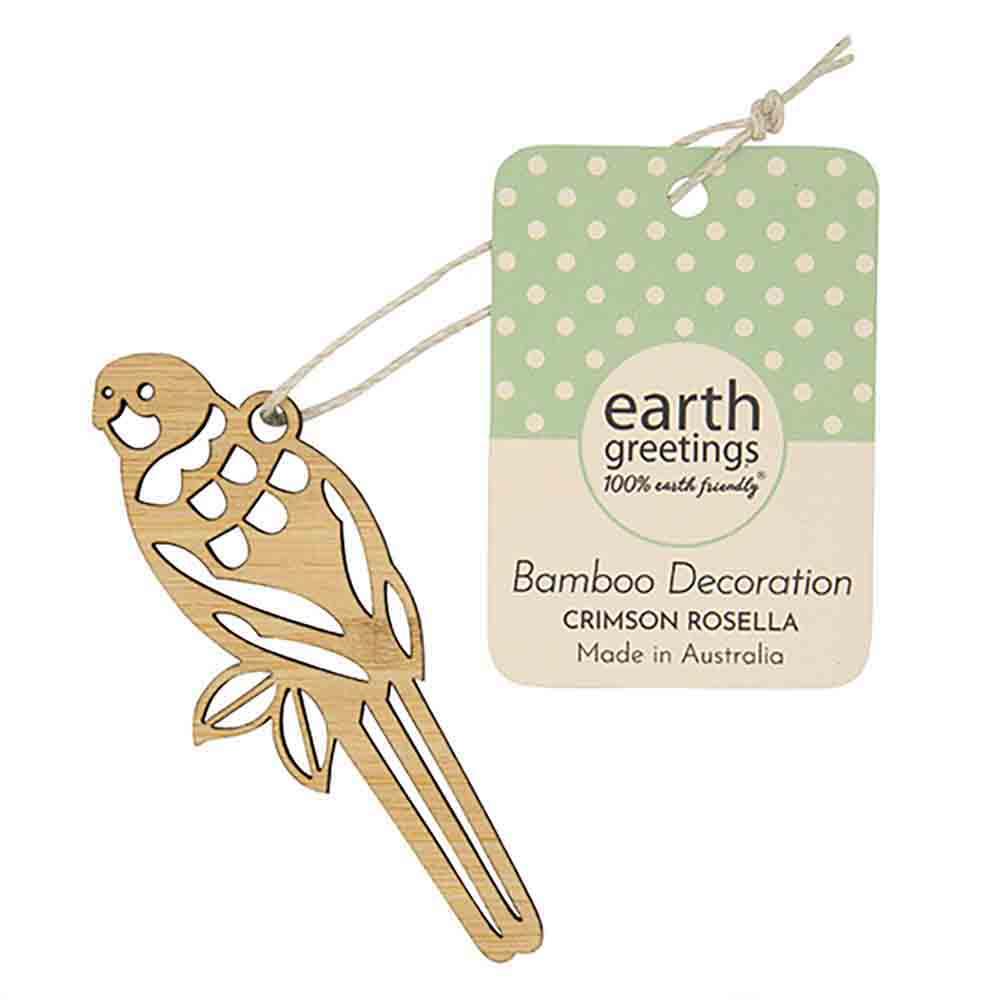 Earth Greetings Mini Bamboo Decoration - Crimson Rosella