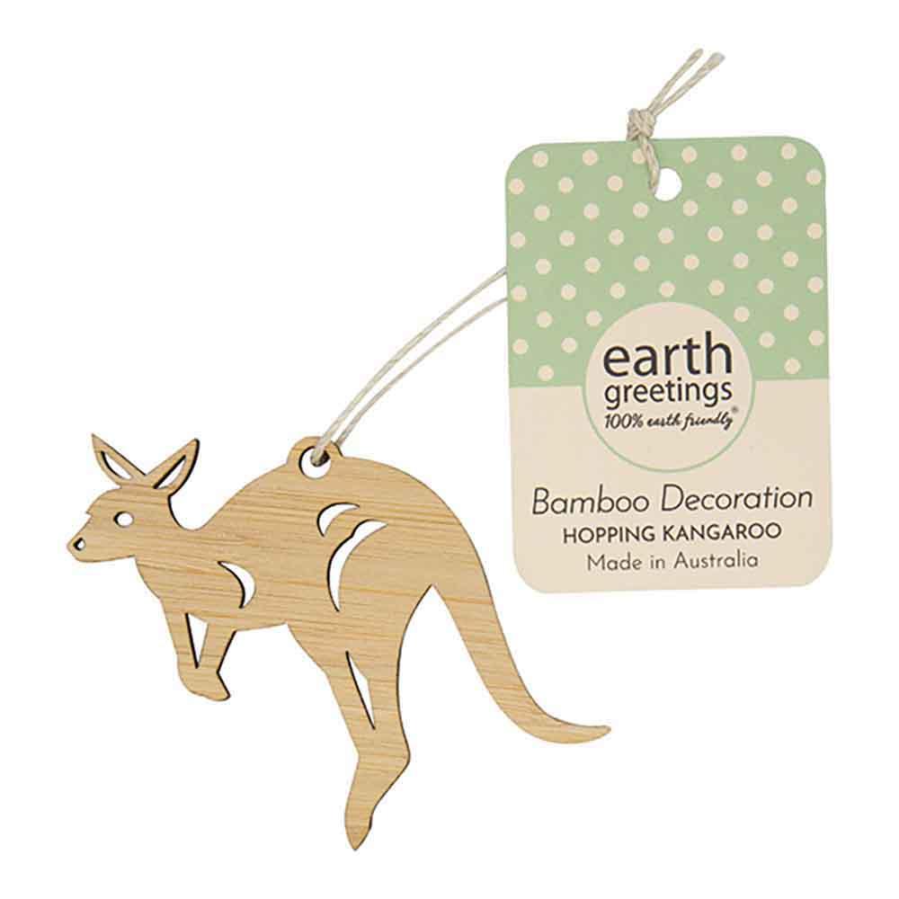 Earth Greetings Mini Bamboo Decoration - Hopping Kangaroo