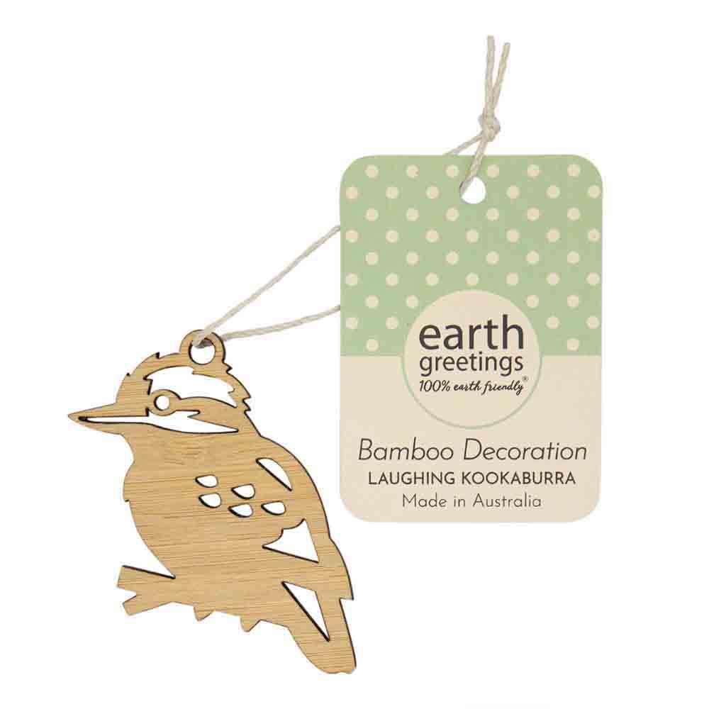 Earth Greetings Mini Bamboo Decoration - Laughing Kookaburra