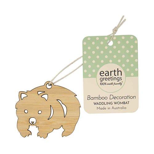Earth Greetings Mini Bamboo Decoration - Waddling Wombat