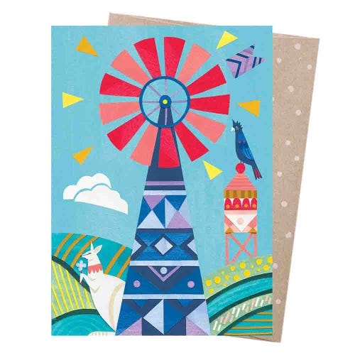 Earth Greetings Blank Card - Windmill