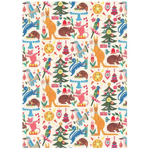 Earth Greetings Wrapping Paper - Festive Fauna (1 Sheet)