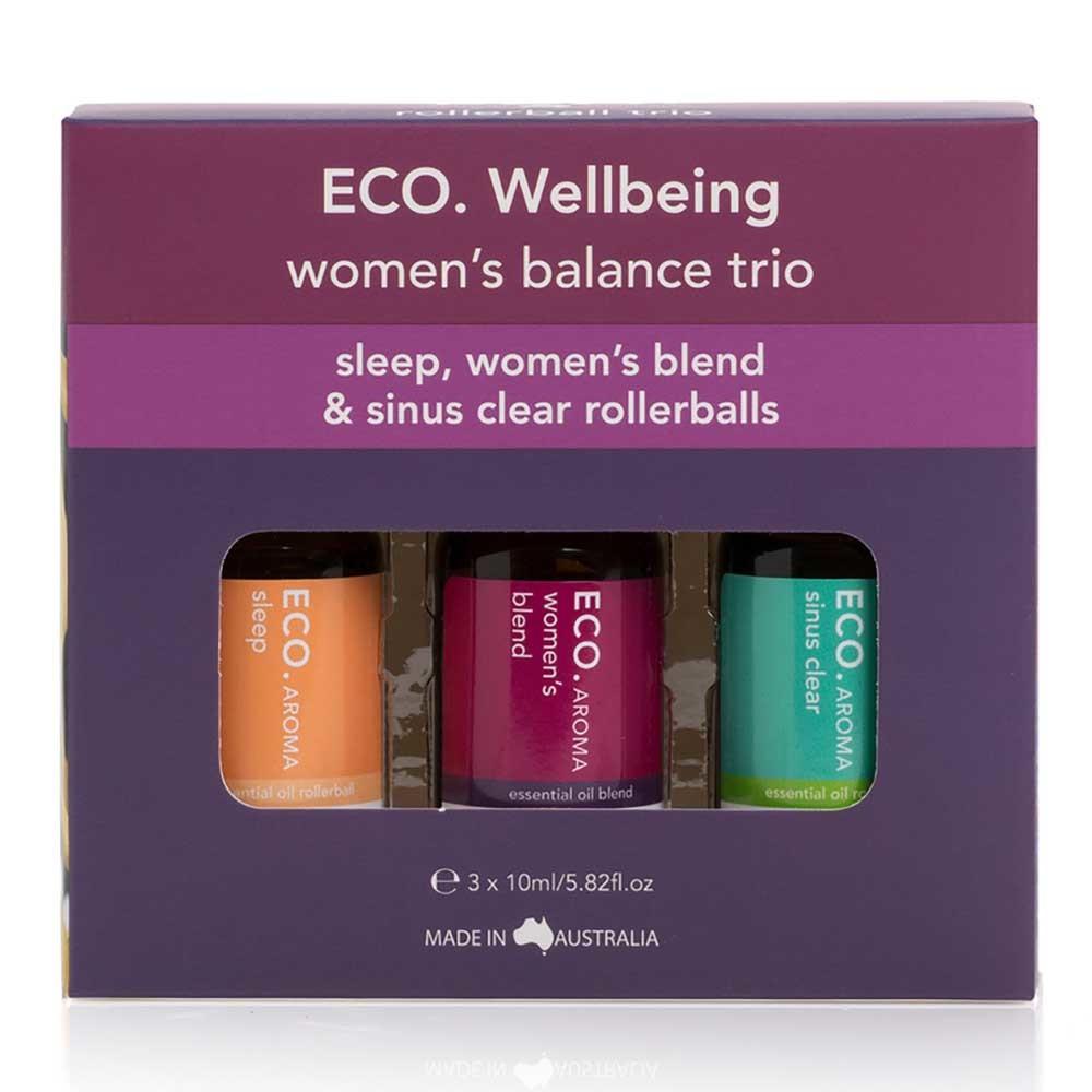 Eco. Essential Oil Women's Balance Rollerball Trio