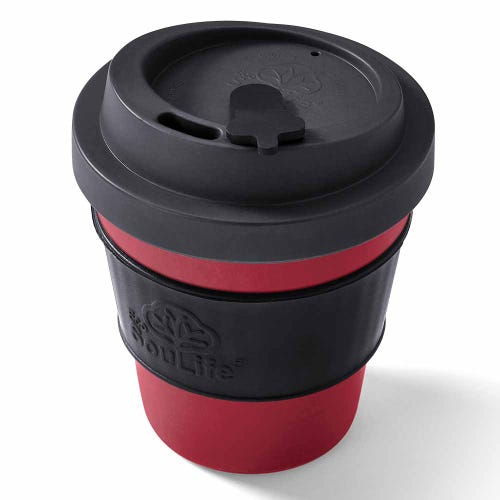 EcoSouLife Reusable Bio Sip Cup - Dark Grey/ Red (12oz)