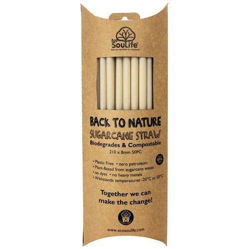 EcoSouLife Sugarcane Straws (50 Pack)