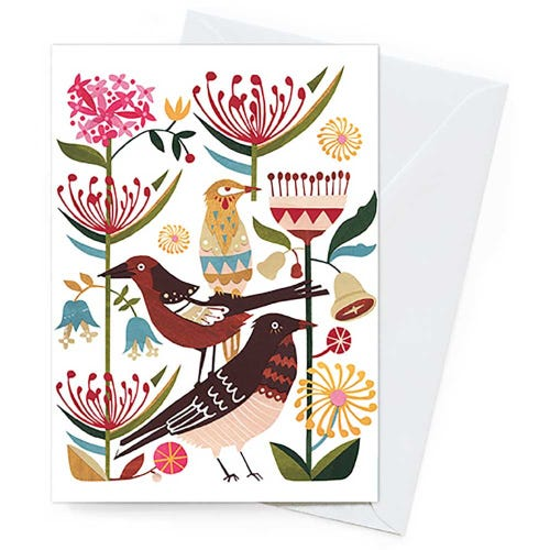 Earth Greetings Blank Card - Currawongs