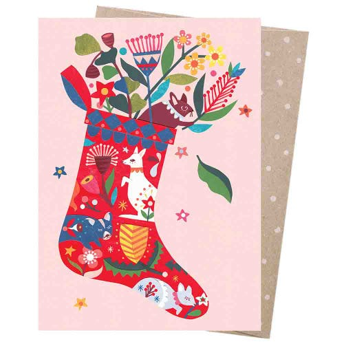 Earth Greetings Christmas Card - Folk Stocking