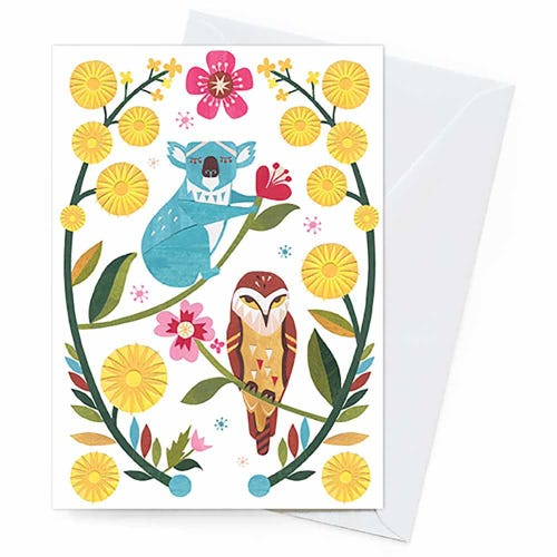 Earth Greetings Blank Card - Koala & Owl