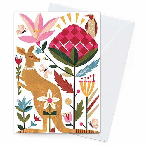 Earth Greetings Blank Card - Kangaroo & Waratah