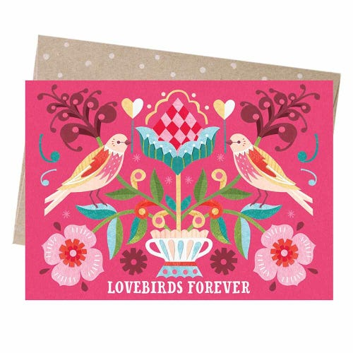 Earth Greetings Blank Card - Lovebirds Forever