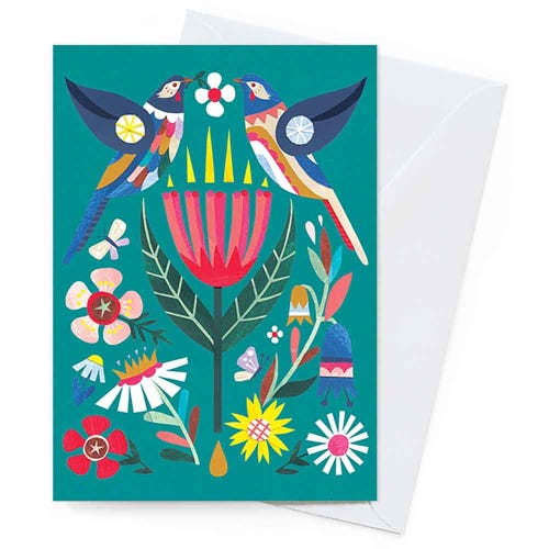 Earth Greetings Blank Card - Wattlebird & Wildflowers