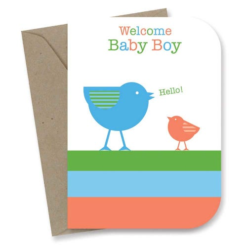 Earth Greetings Card - Baby Boy Birdies