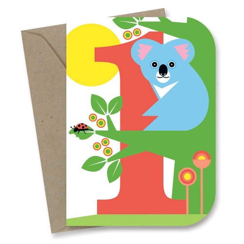 Earth Greetings Card - 1st Birthday Koala