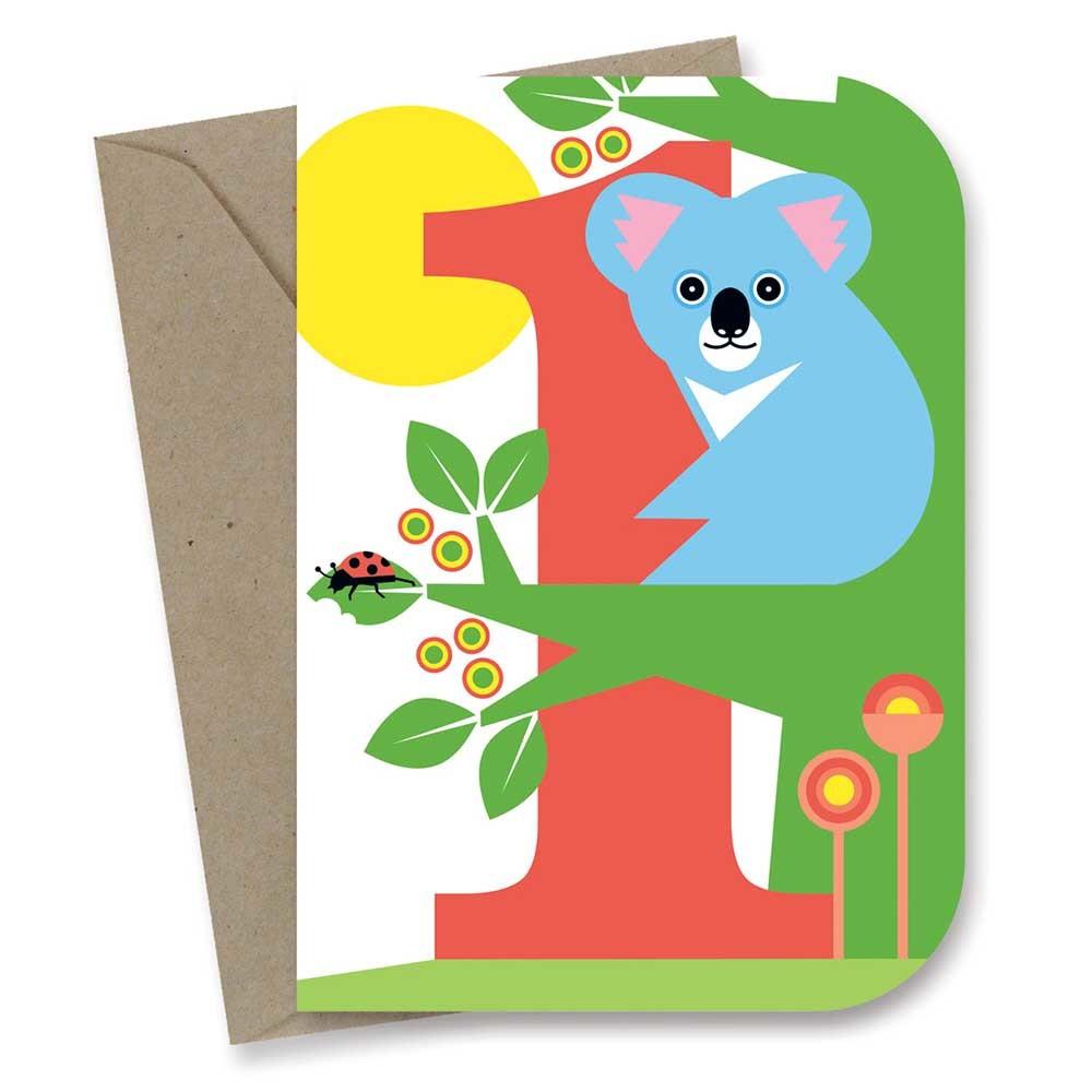 Earth Greetings Card - 1st Birthday Koala