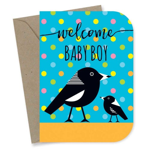 Earth Greetings Card - Baby Boy Magpie