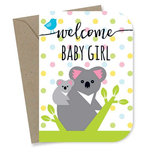 Earth Greetings Card - Baby Girl Koalas