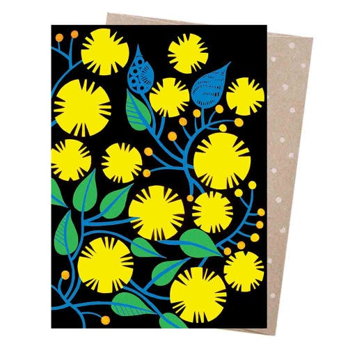Earth Greetings Blank Card - Golden Wattle