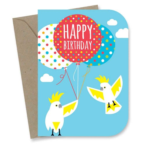 Earth Greetings Card - Kids Birthday Cockatoos
