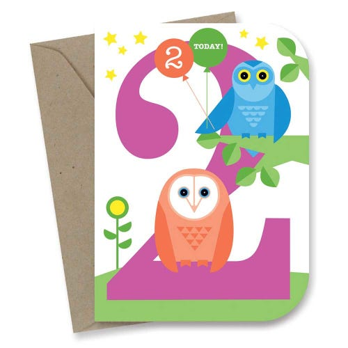 Earth Greetings Card - 2nd Birthday Night Owl