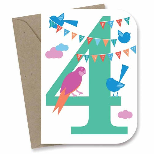 Earth Greetings Card - 4th Birthday Sky Party
