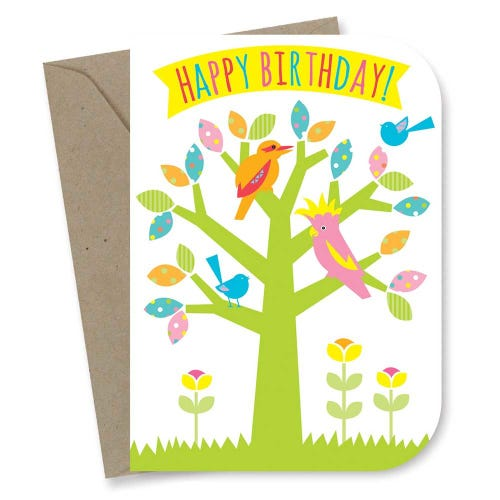 Earth Greetings Card - Kids Birthday Tree Party