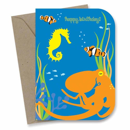 Earth Greetings Card - Kids Birthday Octopus's Garden