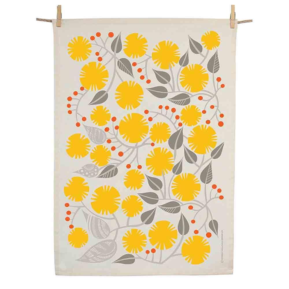 Earth Greetings Organic Tea Towel - Golden Wattle