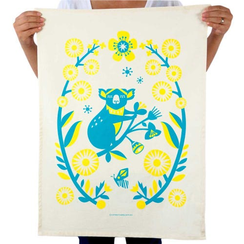 Earth Greetings Organic Tea Towel - Outback Koala