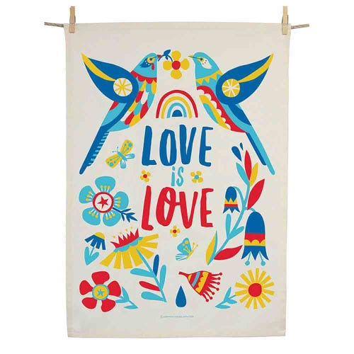 Earth Greetings Organic Tea Towel - Love Wattlebirds