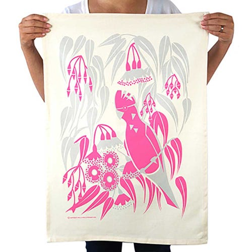 Earth Greetings Organic Tea Towel - Rosea Gum Galah