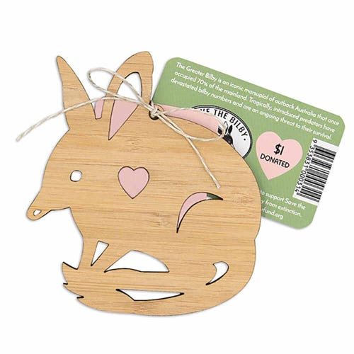 Earth Greetings Bamboo Decoration - Easter Bilby