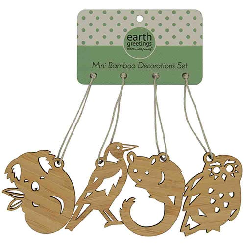 Earth Greetings Bamboo Mini Decoration Set - Sleepy Koala & Friends