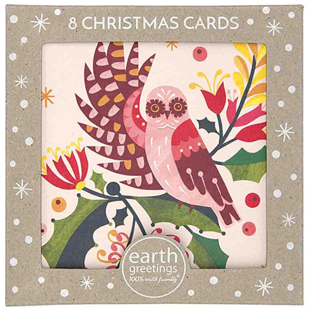 Earth Greetings Christmas Cards - Owl & Mistletoe (8 Cards)