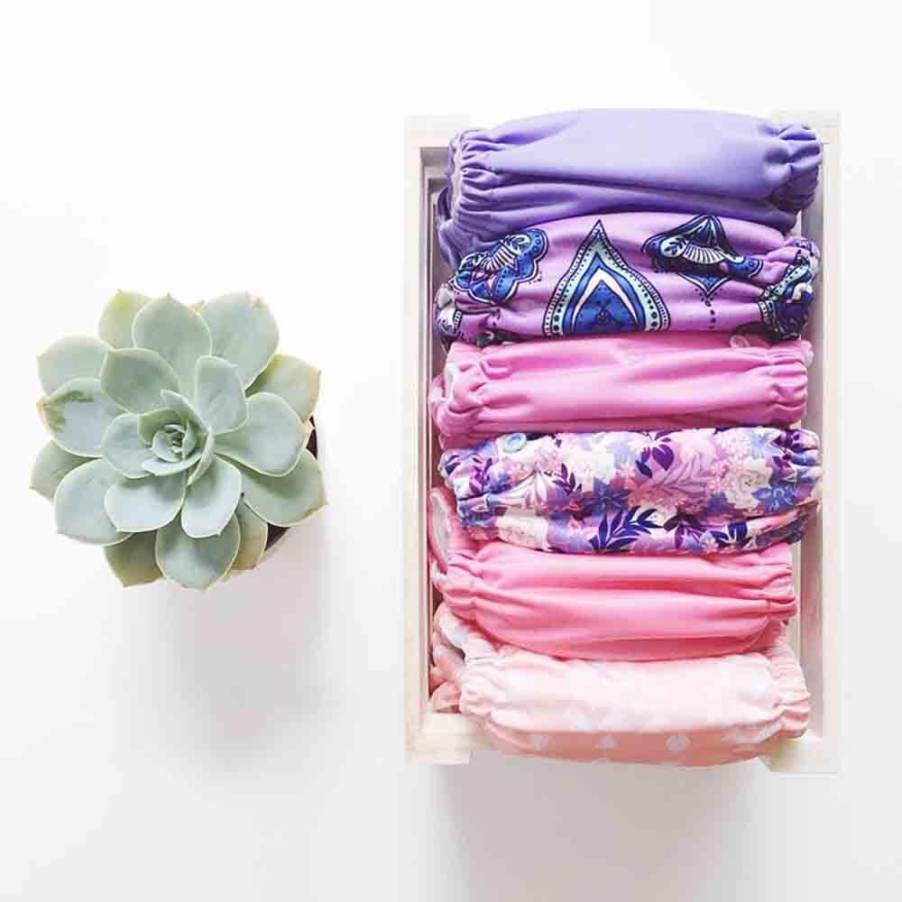 EcoNaps Reusable Cloth Nappys - Purple Starter Bundle (6 Nappys)