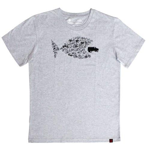 Etiko Organic T Shirt - Unisex - Bike Fish - Grey Marl