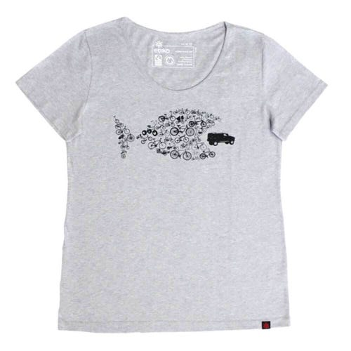 Etiko Organic T Shirt - Womens - Bike Fish - Grey Marl