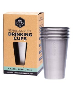 Ever Eco Stainless Steel Drinking Cups (4x500ml)   Flora & Fauna Australia