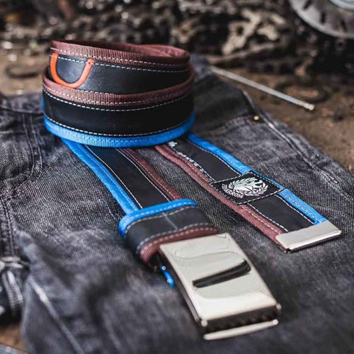 Felvarrom Recycled Inner Tube Belt Blue Brown
